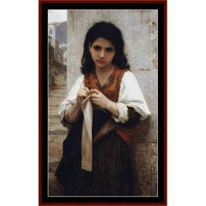 Little Knitter - Bouguereau cross stitch pattern by Cross Stitch Collectibles | Crafting | Cross-Stitch | Wall Hangings