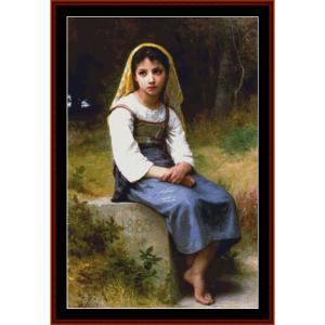 Meditation, 1885 - Bouguereau cross stitch pattern by Cross Stitch Collectibles | Crafting | Cross-Stitch | Wall Hangings