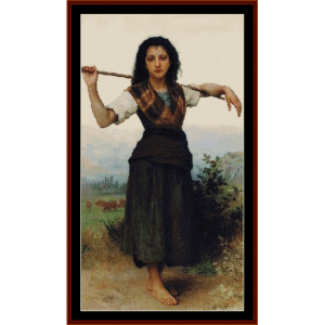 little sheperdess, 1889 - bouguereau cross stitch pattern by cross stitch collectibles
