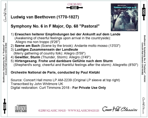 """First Additional product image for - Beethoven: Symphony No. 6 in F, Op. 68 """"Pastoral"""" - Orchestre National, Paris - Paul Kletzki"""