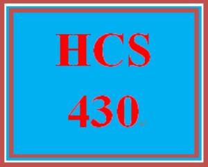 HCS 430 Entire Course | eBooks | Education