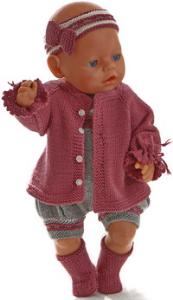 dollknittingpatterns 0191d ane - veste, barboteuse, bandeau et chaussures-(francais)