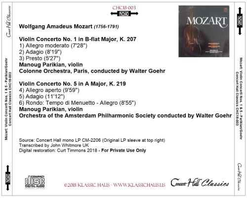 Second Additional product image for - Mozart: Violin Concerti Nos. 1 & 5 - Manoug Parikian, violin