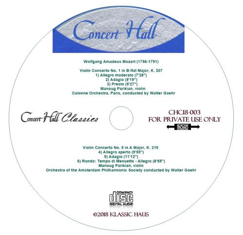Third Additional product image for - Mozart: Violin Concerti Nos. 1 & 5 - Manoug Parikian, violin