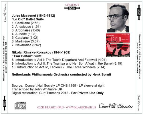 """First Additional product image for - Massenet: """"Le Cid"""" Ballet Suite; Rimsky-Korsakov: """"Tsar Saltan"""" Suite - Netherlands Philharmonic Orchestra/Henk Spruit"""