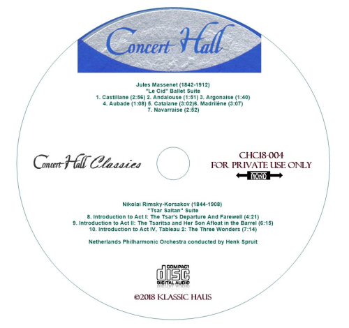 "Third Additional product image for - Massenet: ""Le Cid"" Ballet Suite; Rimsky-Korsakov: ""Tsar Saltan"" Suite - Netherlands Philharmonic Orchestra/Henk Spruit"