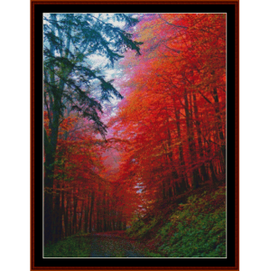 autumn forest, germany - nature cross stitch pattern by cross stitch collectibles