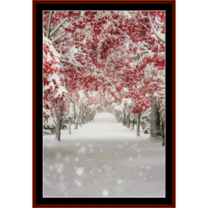 snow path - nature cross stitch pattern by cross stitch collectibles