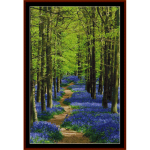 bluebell path - nature cross stitch pattern by cross stitch collectibles