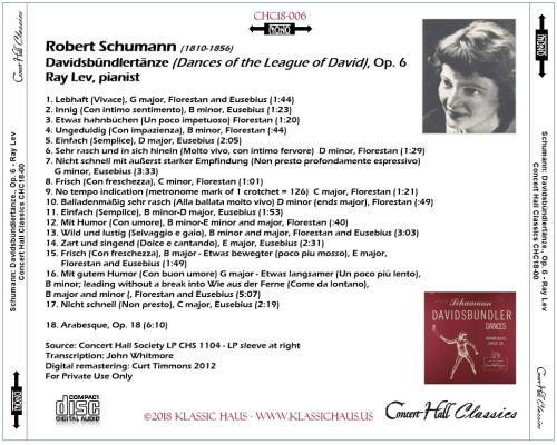 First Additional product image for - Schumann: Davidsbündlertänze, Op. 6; Arabesque, Op. 18 - Ray Lev, pianist