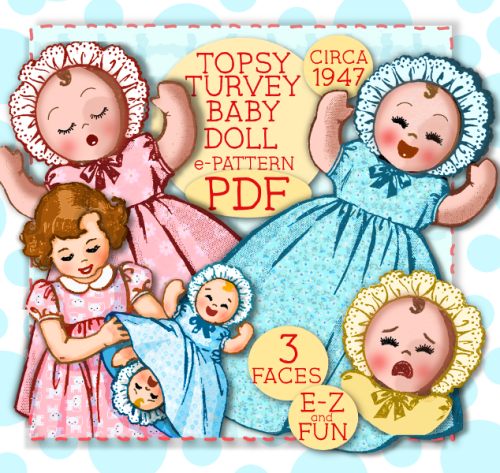 """First Additional product image for - TOPSY TURVEY """"Upside down"""" DOLL - 15"""" & 8"""" Doll e-pattern  Vintage 1940's pattern Mail Order PDF Bonnet Dress"""
