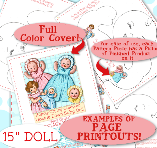 """Second Additional product image for - TOPSY TURVEY """"Upside down"""" DOLL - 15"""" & 8"""" Doll e-pattern  Vintage 1940's pattern Mail Order PDF Bonnet Dress"""