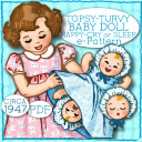 """TOPSY TURVEY """"Upside down"""" DOLL - 15"""" & 8"""" Doll e-pattern  Vintage 1940's pattern Mail Order PDF Bonnet Dress 