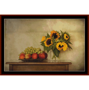 still life with sunflowers - autumn cross stitch pattern by cross stitch collectibles