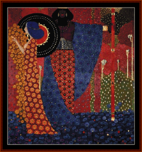 princess and warrior - zecchin cross stitch pattern by cross stitch collectibles