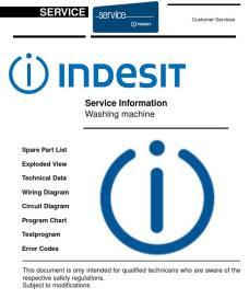 indesit itw e 61052 g (rf) washing machine original service manual