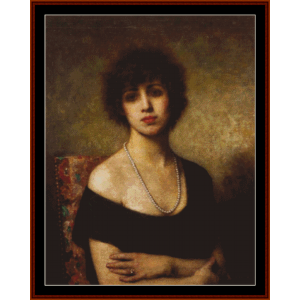 girl with pearl necklace - harlamoff cross stitch pattern by cross stitch collectibles