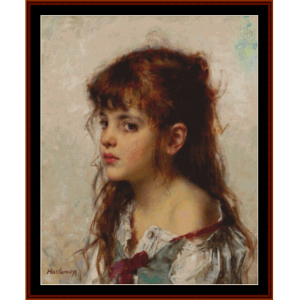 girl with red ribbon - harlamoff cross stitch pattern by cross stitch collectibles