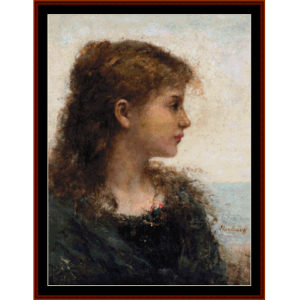 portrait of a young girl - harlamoff cross stitch pattern by cross stitch collectibles