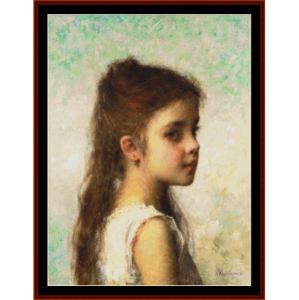 girl with long hair - harlamoff cross stitch pattern by cross stitch collectibles