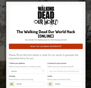*99999 gold* the walking dead our world hack cheats mod for android & ios