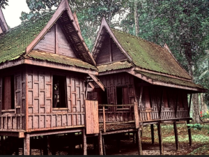 traditional asian wooden house