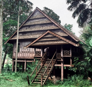 abandoned traditional asian wooden house