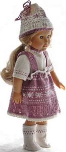 dollknittingpattern 0192d edd & edith - skirt, sweater, pants, suit, hats and socks-(english)