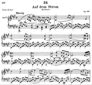 auf dem strom d.943, low voice in a major, f. schubert. c.f. peters (friedl.) a4