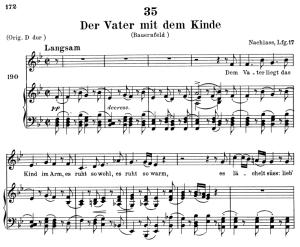 der vater mit dem kinde d.906, low voice in b-flat major, f. schubert. c.f. peters (friedl.) a4