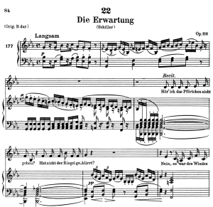 die erwartung d.159, low voice in e-flat major, f. schubert. c.f. peters (friedl.) a4