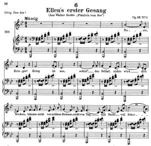 ellen's gesang i, d.837, low voice in b-flat major, f. schubert. c.f. peters (friedl.) a4