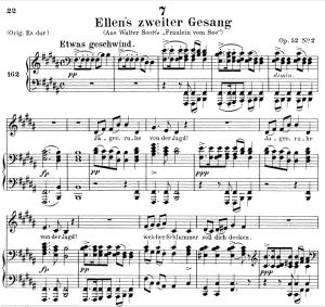 ellen's gesang ii, d.838, low voice in b major, f. schubert. c.f. peters (friedl.) a4