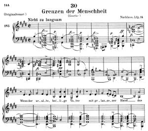 grenzen der menscheit, d.716, low voice in e major, f. schubert. c.f. peters (friedl.) a4