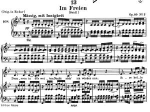 im freien, d.880, low voice in b-flat major, f. schubert. c.f. peters (friedl.) a4