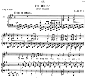 im walde (waldes nacht), d.708, low voice in e minor, f. schubert. c.f. peters (friedl.) a4
