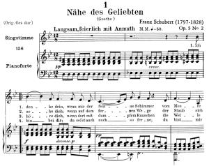 nähe des geliebten, d.162, low voice in b-flat major, f. schubert. c.f. peters (friedl.) a4
