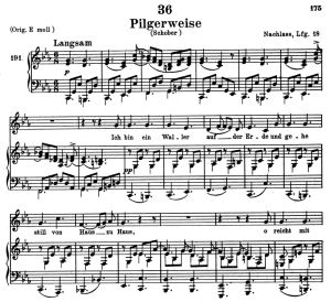 pilgerweise, d.789, low voice in c minor, f. schubert. c.f. peters (friedl.) a4