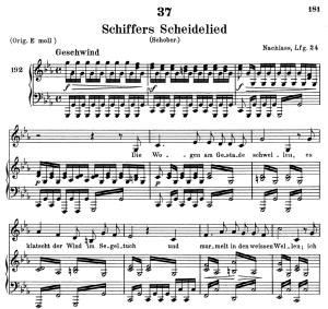 schiffers scheidelied, d.910, low voice in c minor, f. schubert. c.f. peters (friedl.) a4
