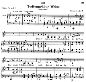 todengräberweise, d.869, low voice in d minor, f. schubert. c.f. peters (friedl.) a4
