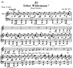 über wildemann, d.867, low voice in a minor, f. schubert. c.f. peters (friedl.) a4