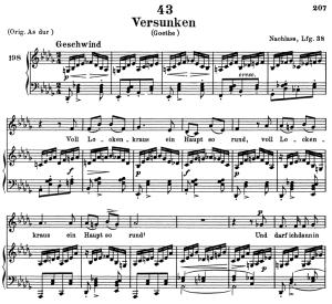 versunken, d.715, low voice in d-flat major, f. schubert. c.f. peters (friedl.) a4