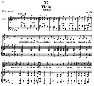 viola, d.786, low voice in d-flat major, f. schubert. c.f. peters (friedl.) a4