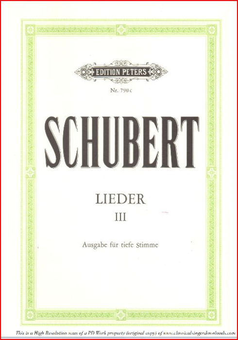 First Additional product image for - Wehmut, D.762, Low Voice in B minor, F. Schubert. C.F. Peters (Friedl.) A4