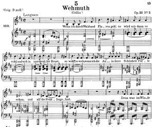 wehmut, d.762, low voice in b minor, f. schubert. c.f. peters (friedl.) a4