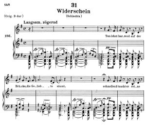 wiederschein, d.639, low voice in g major,, f. schubert. c.f. peters (friedl.) a4