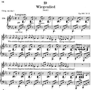 wiegendlied, d.867, low voice in e-flat major, f. schubert. c.f. peters (friedl.) a4