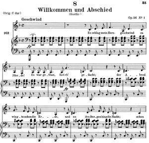 willkommen und abschied, d867, low voice in f major, f. schubert. c.f. peters (friedl.) a4
