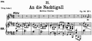 an die nachtigall d.497, low voice in d major, f. schubert. c.f. peters (friedl.) a4