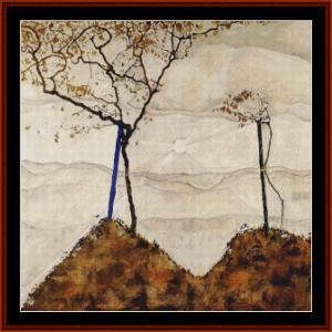 autumn sun - schiele cross stitch pattern by cross stitch collectibles